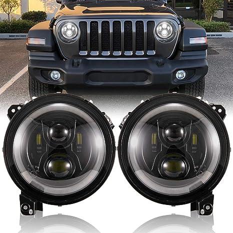 Jeep Wrangler Led Headlights >> Fieryred 9 Inch Led Headlights With Drl For Jeep Wrangler Jl 2018 2019 High Low Beam Function Halo Angel Eyes Headlight Oem