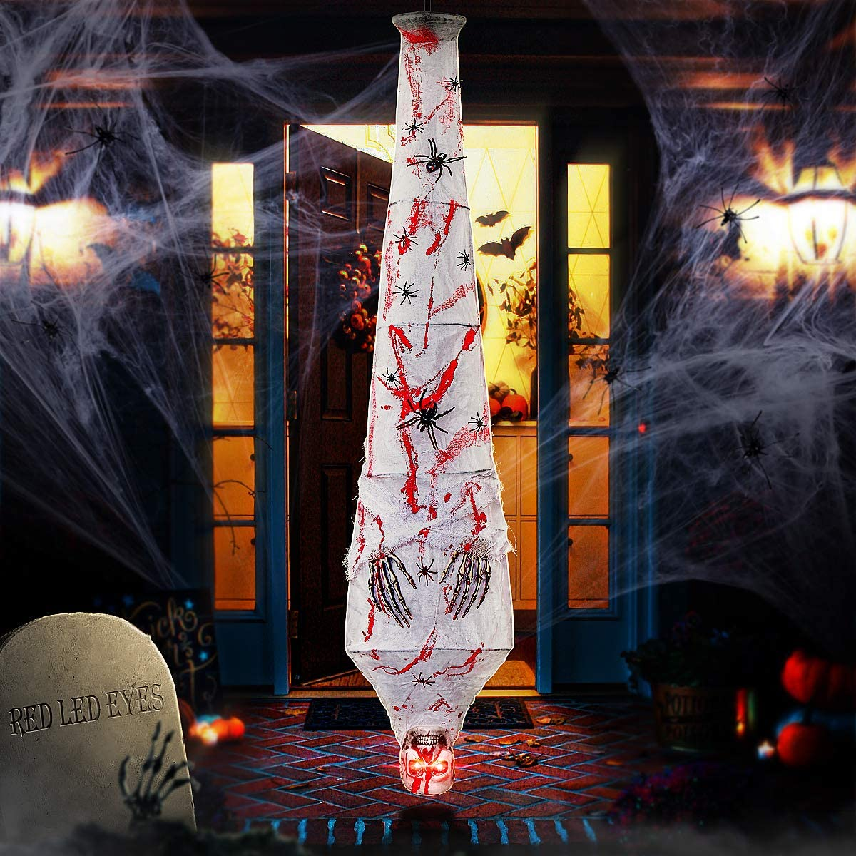 Halloween Decorations Outdoor, Halloween Prop Hanging Cocoon Corpse for Halloween Creepy Scary Mummy Decorations