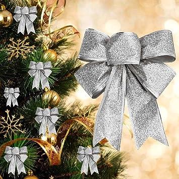 Schleifen Weihnachtsbaum.2x Groß Weihnachten Schleifen Weihnachtsbaum Anhänger Fenster Deko Ziehschleifen Autoschleifen Hochzeit Dekoration Silber