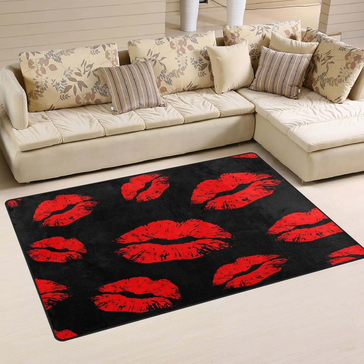 WOZO Red Lips Black Area Rug Rugs Non-Slip Floor Mat Doormat