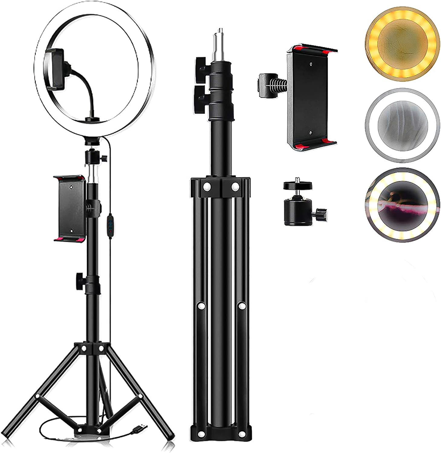 iFCOW LED Ring Light, 26cm LED Ring Light Dimmable LED Live Video Ring Light Set with Tripod Tablet Clip
