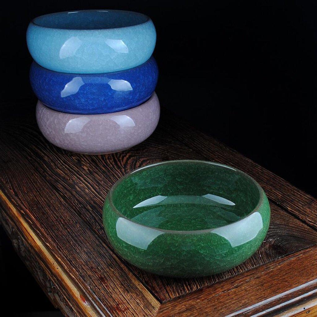 cendrier KKY-Enter Open Cracked Glaze Creative en céramique Décorations à la Maison Décoration de Salon (Diamètre 20cm, Hauteur 7.5cm), donnant aux Fumeurs (Couleur : Sky Blue)