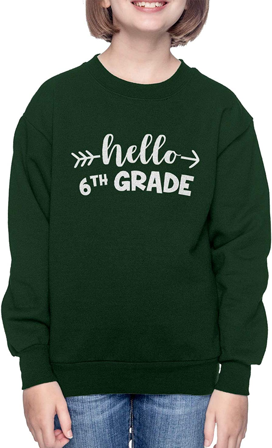 Back to School Youth Fleece Crewneck Sweater Forest Green, Large Haase Unlimited Hello 6th Grade