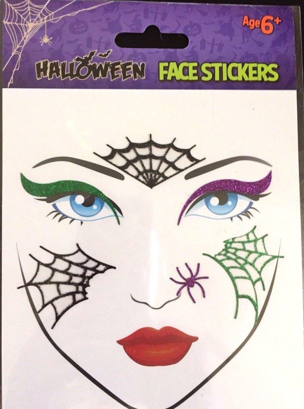 Halloween Glitter Face Tattoo Stickers Creepy Temporary Body Art Festival Fun Make up Dressing up Carnival- Halloween Latest Must have Accessory (Design 1 - Webs) TJM LTD