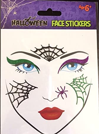 Halloween Glitter Face Tattoo Stickers Creepy Temporary Body Art Festival  Fun Make up Dressing up Carnival