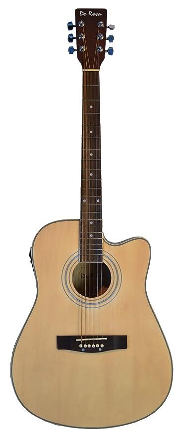 De rosa 41 cm Cutaway Guitarra eléctrica acústica de 4 EQ NATURAL (con funda y