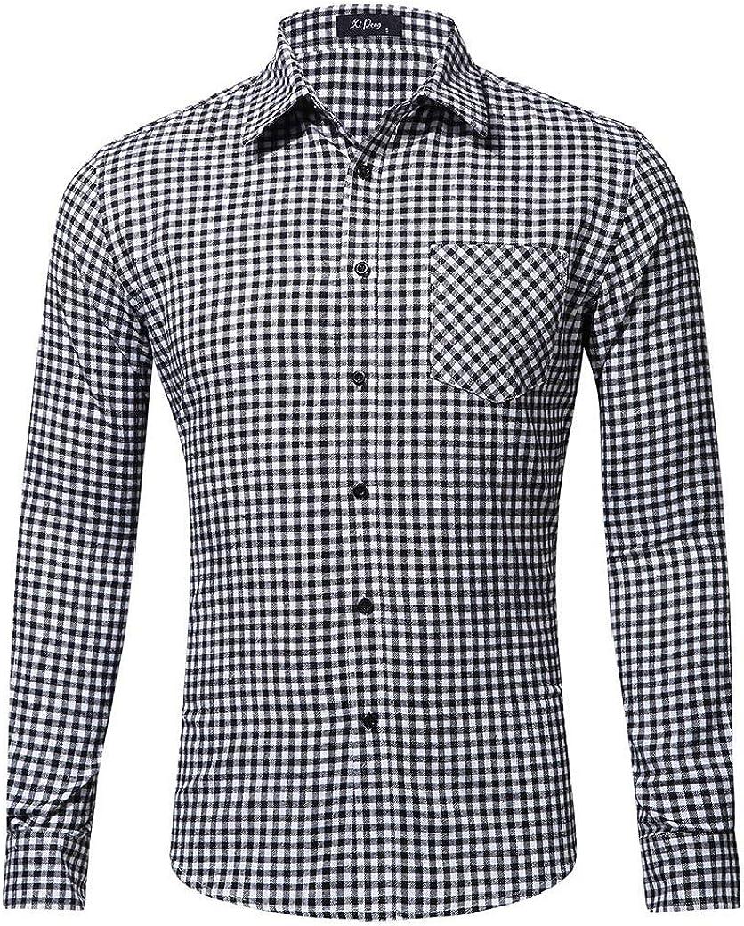 Tralounry Mens Cotton Print with Pocket Long Sleeve Slim-Fit Plaid Oxford Shirt