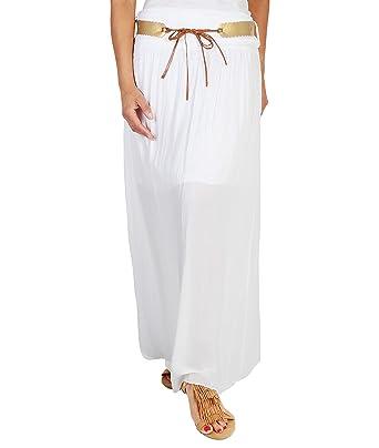 Falda Blanca Larga [Blanco, S/M (36-38)]: Amazon.es: Ropa y accesorios