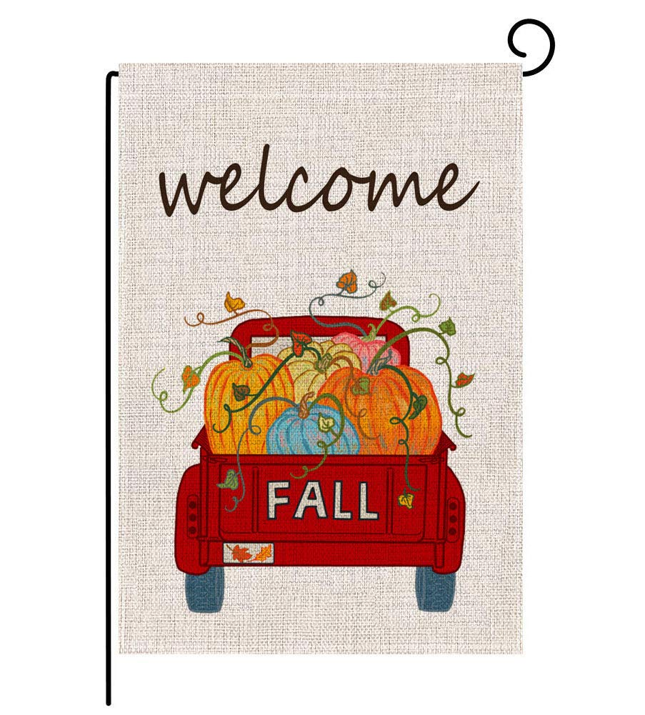 Keniot Fall Pumpkin Truck Welcome Garden Flag Double Sided Burlap Fall Garden Flag, Seasonal Fall Outdoor Funny Decorative Flags for Yard Outdoor Decor, 12.5 x 18.5 inch