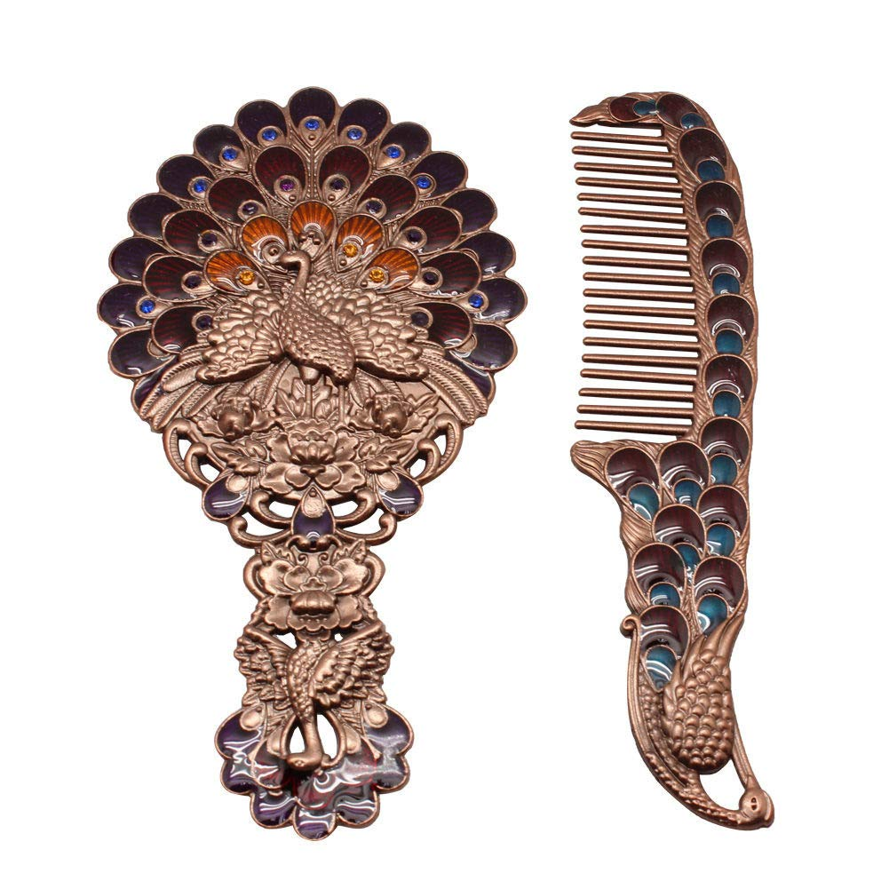 OnelinkPlaza Dressing Set Zinc Alloy Mirror & Comb Vintage Chinese Style Birthday Gift for Women Girl Mother Daughter (Blue)