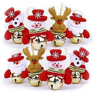 WUJOMZ OBOOUM Christmas Bells Decorations for Home, 8 Pcs Set Christmas Tree Ornaments, Snowman/Old Man/Bear/elk