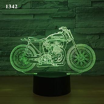 Moto Bicicleta Moto 3D Lámpara de noche Ilusión acrílica Colores remotos Niños Amigos Regalo Juguetes Lámpara de mesa: Amazon.es: Iluminación