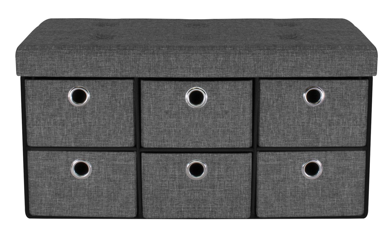 Sorbus Storage Bench Chest with Drawers Collapsible Folding Bench Ottoman Includes Cover Perfect for Entryway, Bedroom Bench, Cubby Drawer Footstool, Hope Chest, Faux Linen Gray
