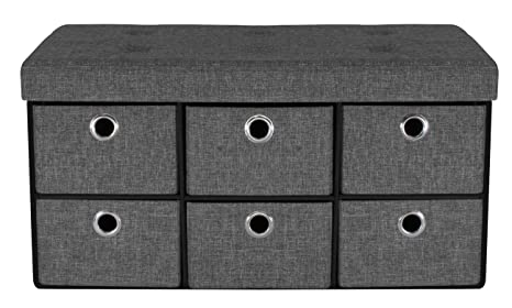 Sorbus Storage Bench Chest with Drawers – Collapsible Folding Bench Ottoman  Includes Cover – Perfect for Entryway, Bedroom Bench, Cubby Drawer ...