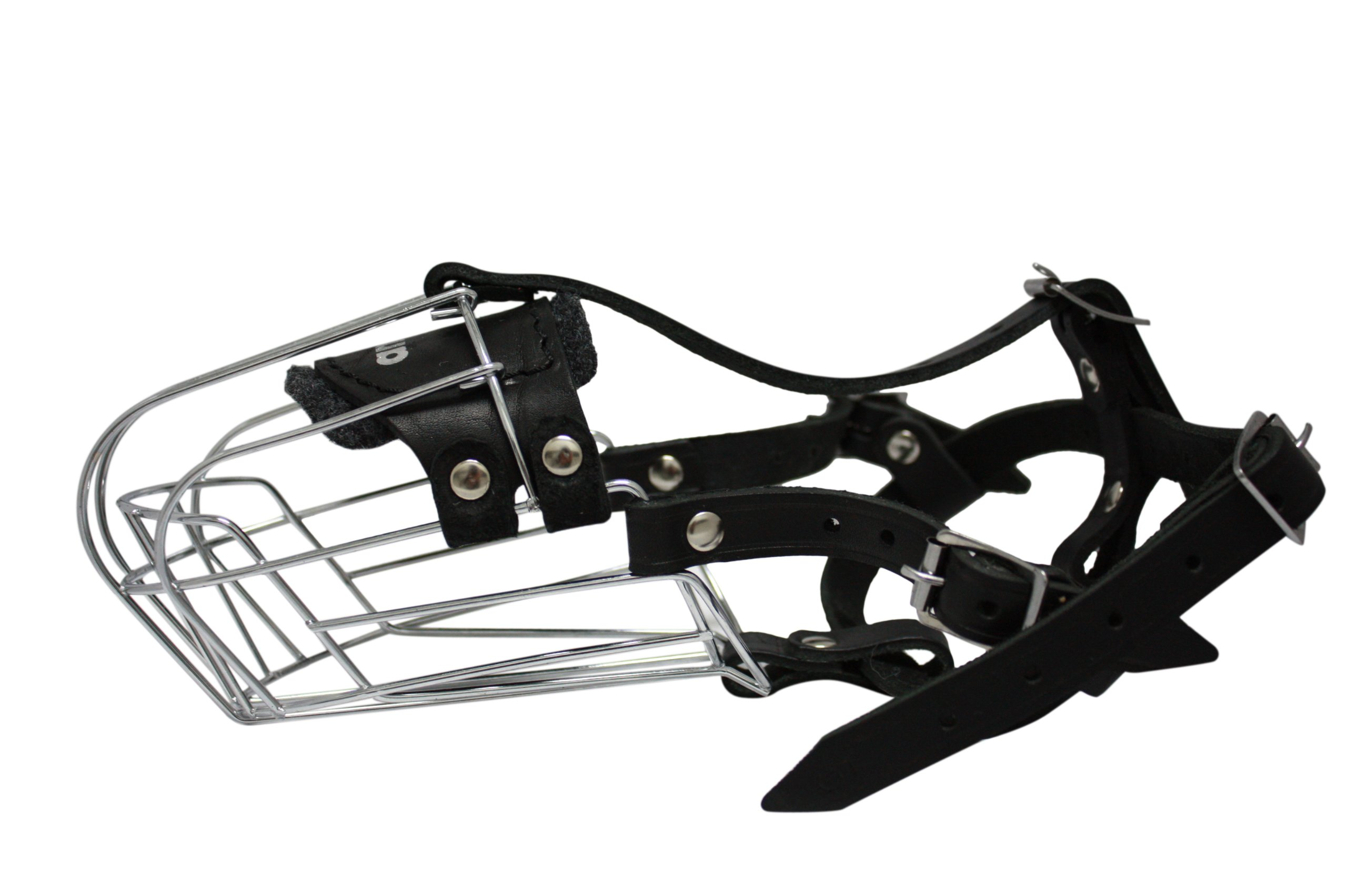 Wire Cage & Leather Muzzle (Miami). Size 5, Black. 11'' circumference, 4.25'' length. Best fits mid-size dogs like: Schnauzers, Weimaraners