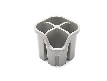ADDIS Escurridor Cubertería con 4 Compartimentos, plástico, Gris, 14 x 14 x 13