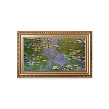 DECORARTS -  Water Lilies Claude Monet Giclee Fine Art Print in Embossed Gold Frame. Framed Size: 36x22