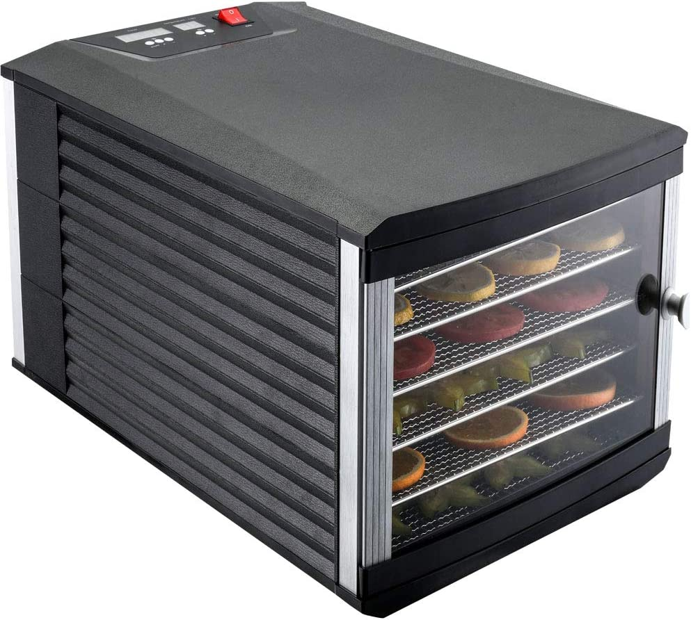 JAYETEC Food Dehydrators, 6 staniless steel trays with digital adjustable,temperature and Timer Controlling, Vegetable, Fruit, Jerky Beef, Herb Dehydrator, Yogurt Maker, Double Over Heat Protection, Transparent Door & Black, Including 2 Nonstick Sheets