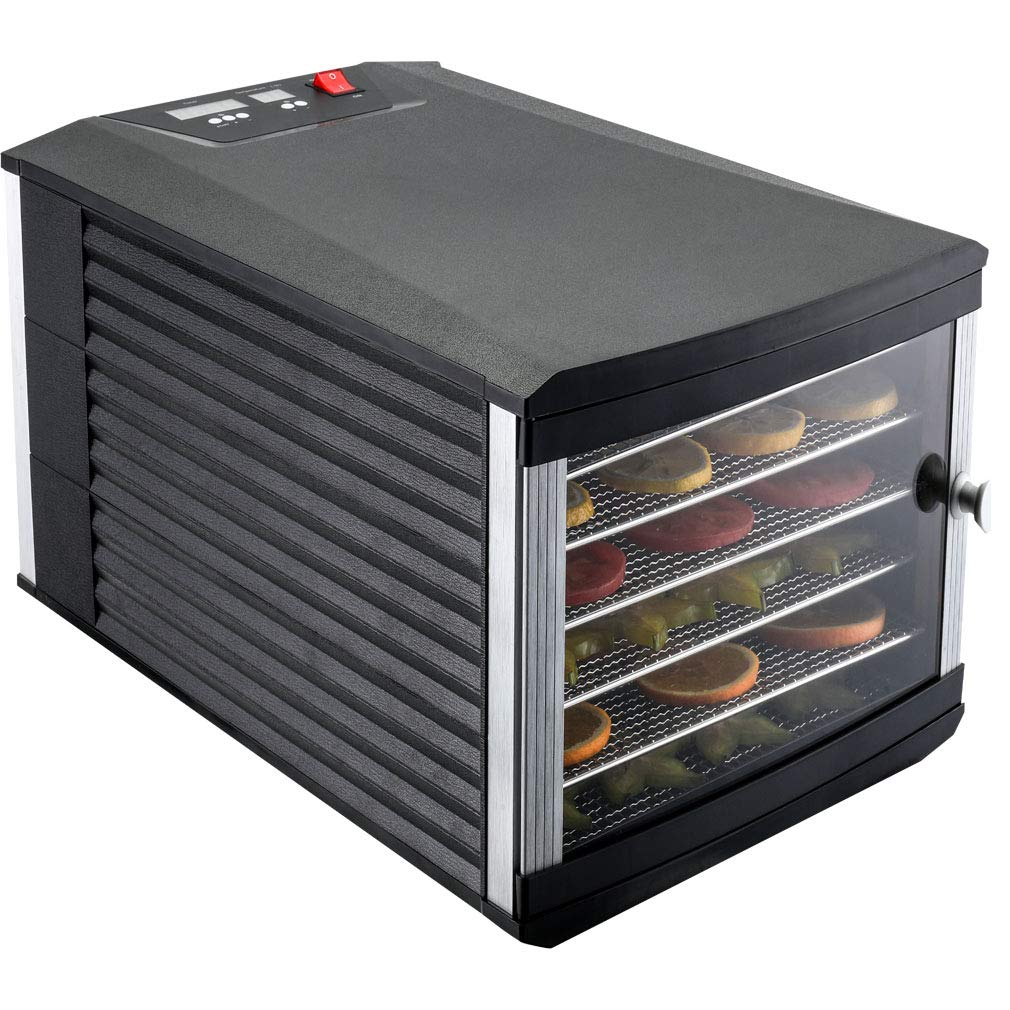 JAYETEC Food Dehydrators, 6 Trays staniless steel trays with digital adjustable,temperature and timer controlling, vegetable, fruit, jerky,beef, herb dehydrator, yogurt maker, double over heat protection, transparent door black, including 2pcs non-stick sheets 6 Trays