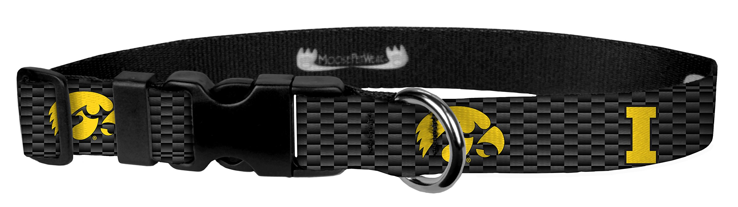 Moose Pet Wear Dog Collar - University of Iowa Adjustable Pet Collars, Made in The USA - 3/4 Inch Wide, Small, Hawk on Carbon Fiber by Moose Pet Wear