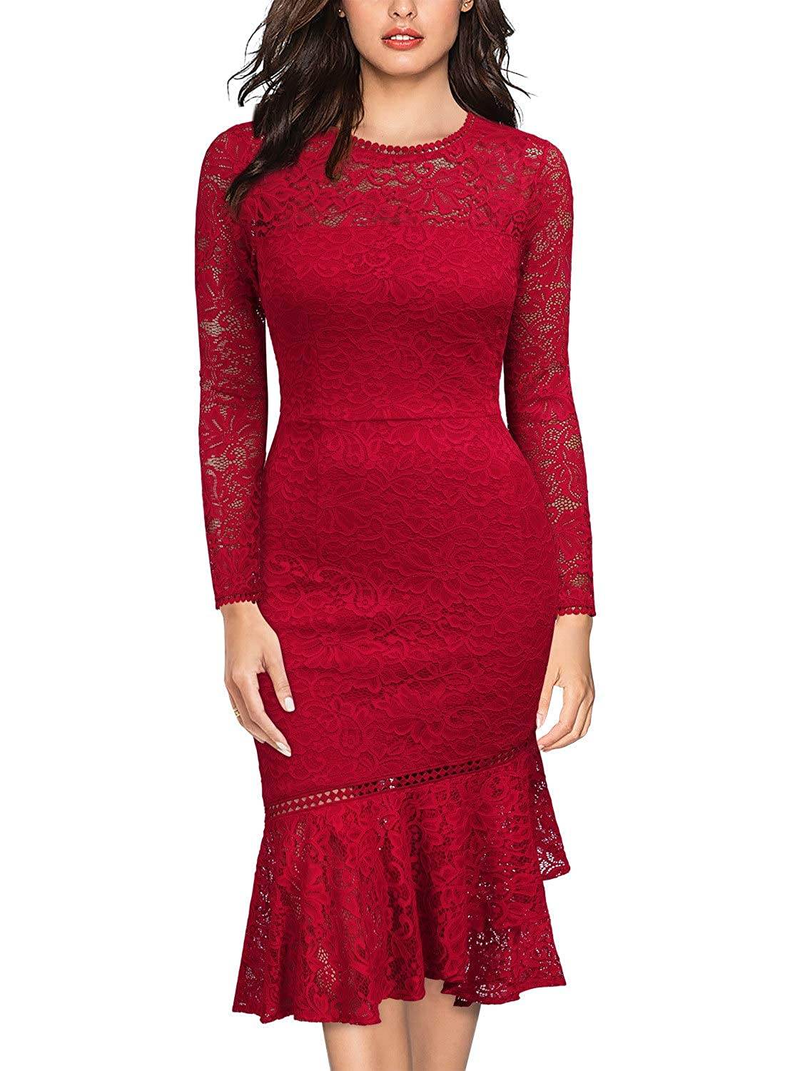Miusol Women's Vintage Floral Lace Long Sleeves Bridesmaid Midi Dress FQ1868