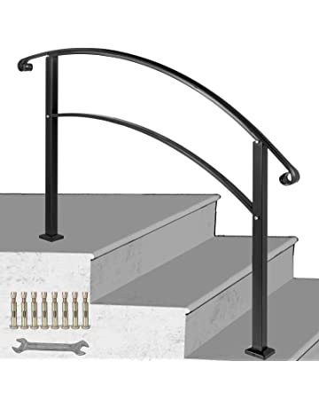 5-Step Handrail Stainless Steel Adjustable Stair Railing for Indoor Outdoor Steps