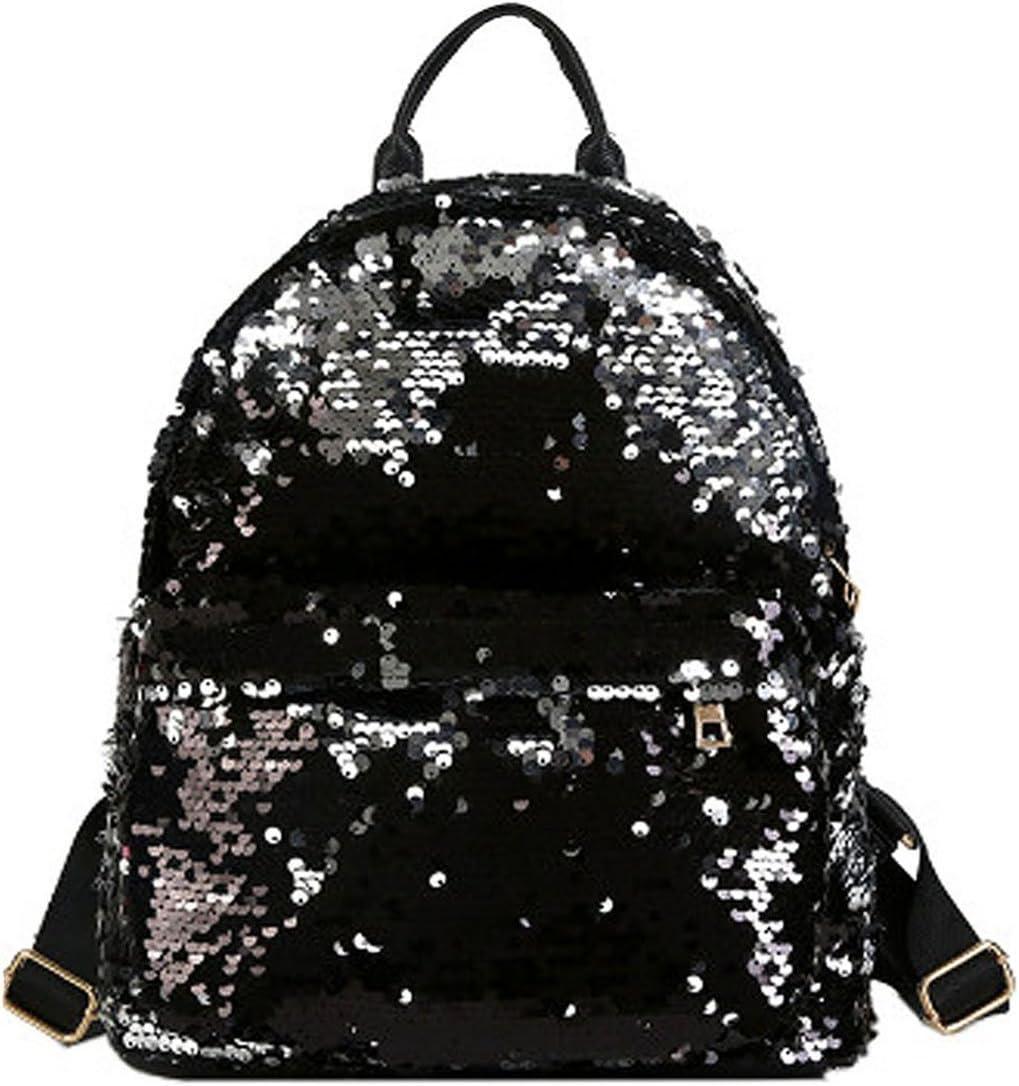 LABANCA Womens Glitter Backpack Sequin Satchel Casual Outdoor Daypack Black