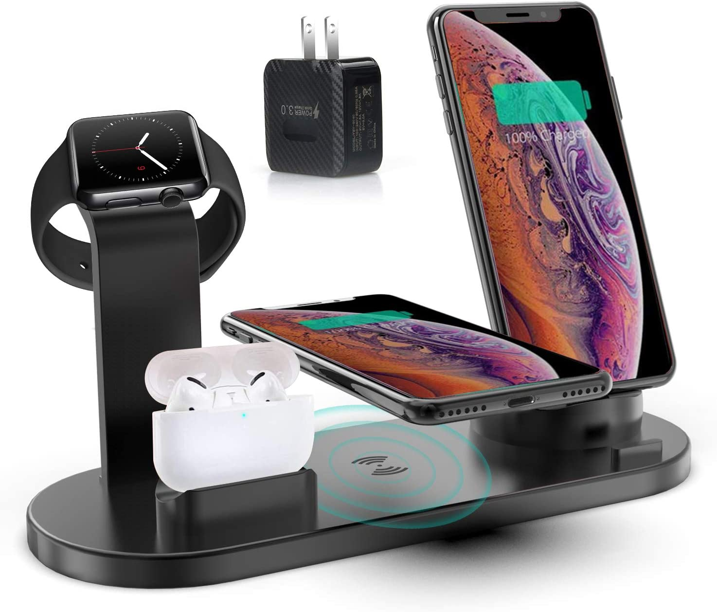 4 in 1 Wirelesse Charging Station, Compatible for AirPods/iPhone/iWatch Series, Qi Fast Wireless Charger Stand Dock for iPhone 11/11 Pro Max/X/XR/XS/ 8/8P