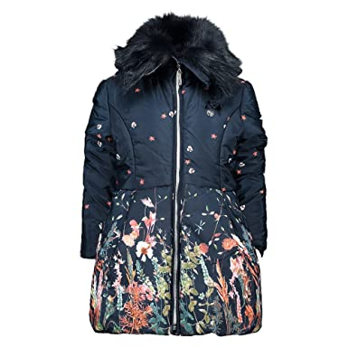 47a78cc76bf2 Le Chic Girls Fur Collar Floral Coat - Blue Navy - 6 Years