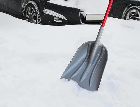 Hengda zorro de nieve altura regulable hoja de 74 cm de ancho /ángulo de pala ajustable Pala de nieve con ruedas pala de nieve pala de nieve de pl/ástico