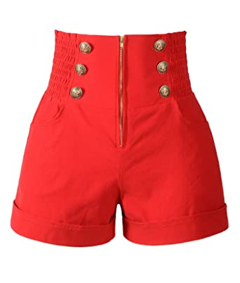 99458ddf2bd3a Penelope Vintage Women's 50s Retro Rockabilly Style High Waist Pinup Shorts  (XXL, Red) at Amazon Women's Clothing store: