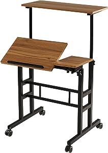 SDADI Height Adjustable Sit Stand Home Office Desk Mobile Standing Desk Rolling Laptop Cart Computer Workstation, Ancient Oak