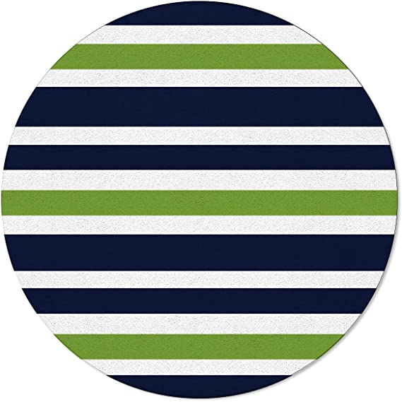 Navy Blue Lime Green And White Striped Round Area Rugs Carpets Indoors Living Dining Room Bedroom Children Playroom Kitchen Bathroom Floor Mats Non Slip Rubber Backing 4 Ft Modern Design Kitchen Dining Amazon Com