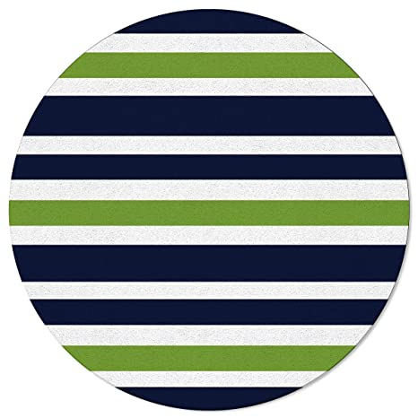 Amazon.com: Navy Blue Lime Green and White Striped Round ...