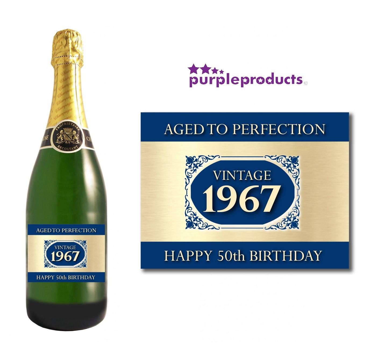 1967 Vintage azul Happy 50th cumpleaños 2017 etiqueta de ...
