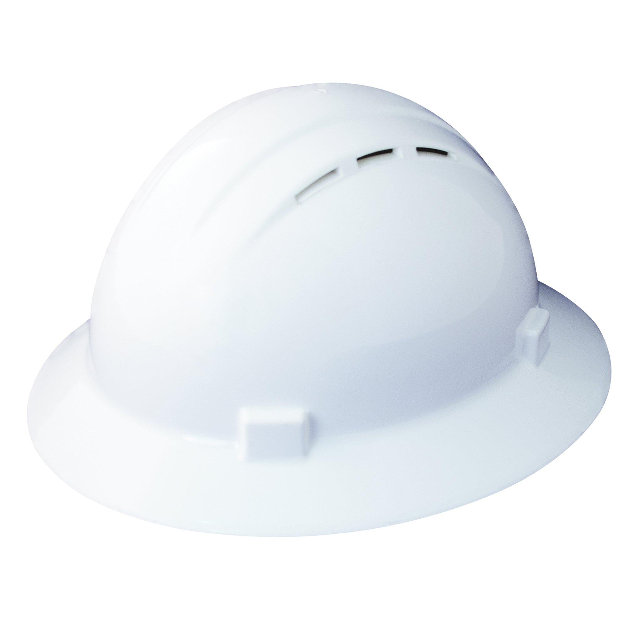 ERB Safety Products 19431 Americana Full Brim Vent Mega Ratchet, Size: 6 1/2 - 8, White