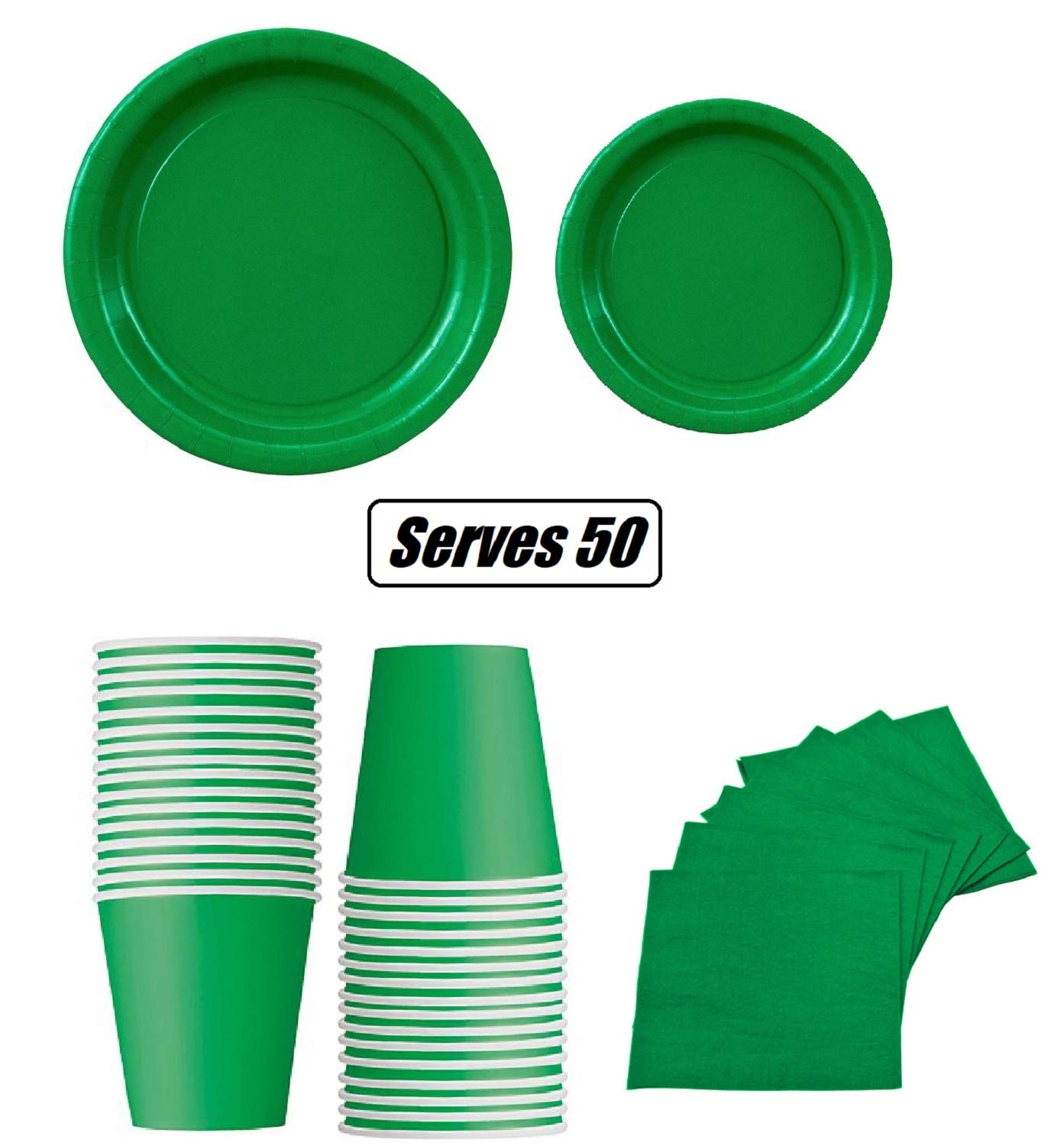 Serves 50 3 Ply Napkins office parties 9 Dinner Paper Plates 7 Dessert Paper Plates Green birthday parties Complete Party Pack festivals Green Party Theme 9 oz Cups