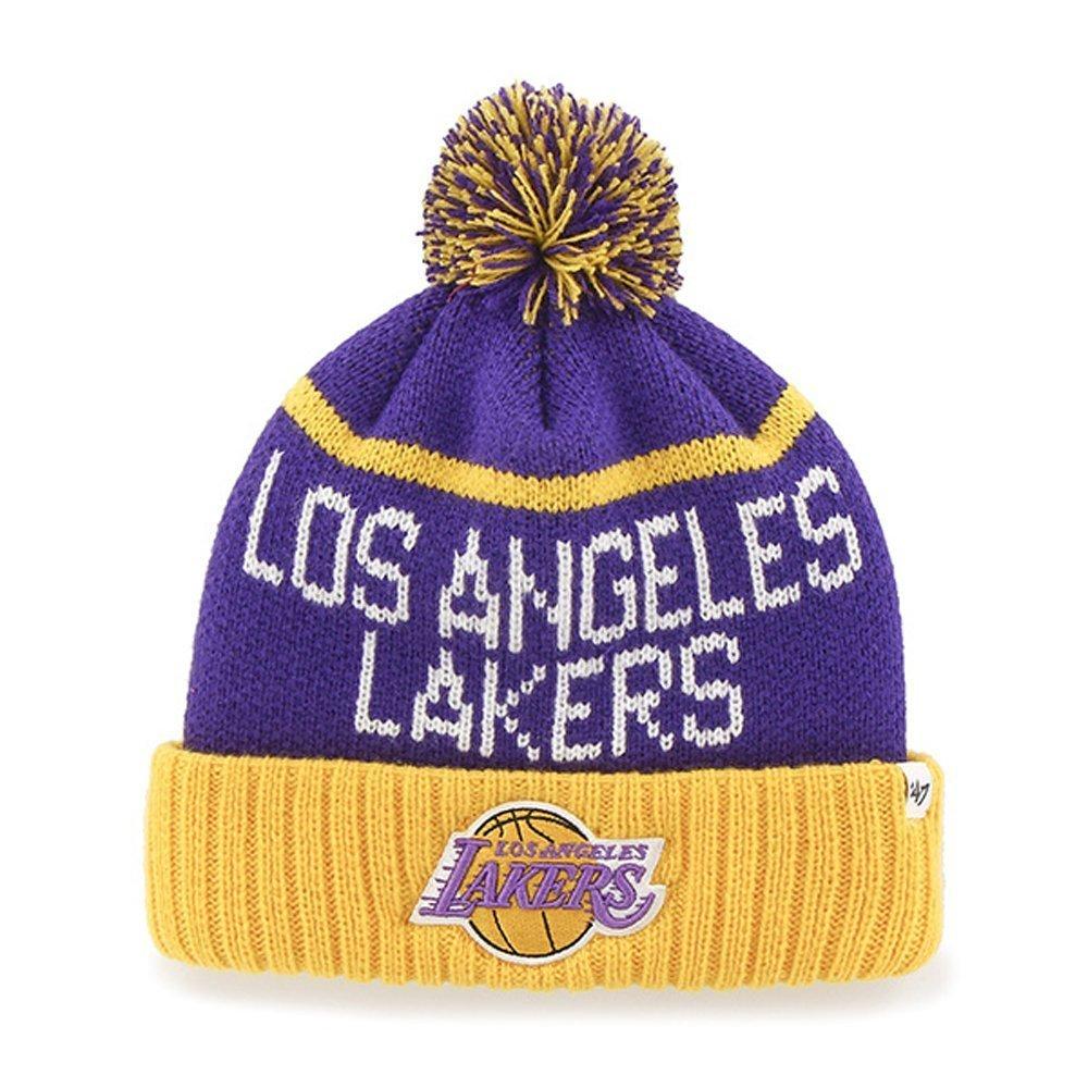 ebce0632736 Amazon.com   Los Angeles Lakers Purple Linesman Cuffed Pom Knit Beanie Hat    Cap   Sports   Outdoors