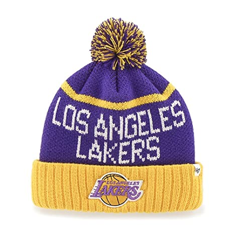 wholesale dealer 44390 517f8 Image Unavailable. Image not available for. Color  Los Angeles Lakers Purple  Linesman Cuffed Pom Knit Beanie ...