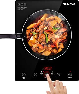 SUNAVO Induction Cooktop 1800W Portable Countertop Burner Timer 15 Temperature Power Setting Sensor Touch CB-I11