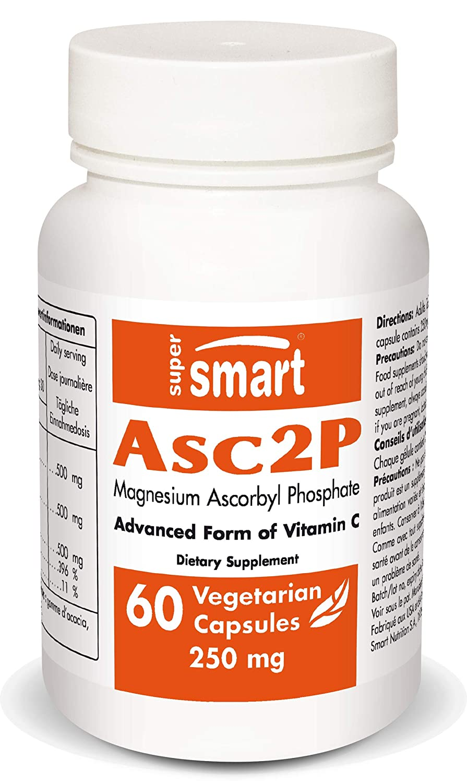 Supersmart - Vitamins, Anti-Aging - Asc2P 250 mg (Magnesium Ascorbyl Phosphate) - an Anti-Aging & Antioxidant Super Vitamin & Potent Form of Vitamin C - Non-GMO - 60 Vegetarian Capsules