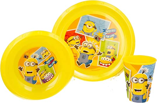 SET EASY 3 PCS. (PLATO, CUENCO Y VASO 260 ML) EN ESTUCHE MINIONS FUN LAND: Amazon.es: Bebé