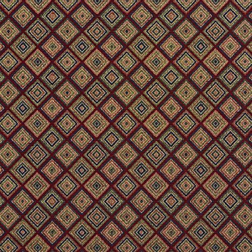 - Merlot Beige Tan Taupe Burgundy Red Rust Dark Blue Dark Green Abstract Geometric Small Scale Tapestry Upholstery Fabric by the yard