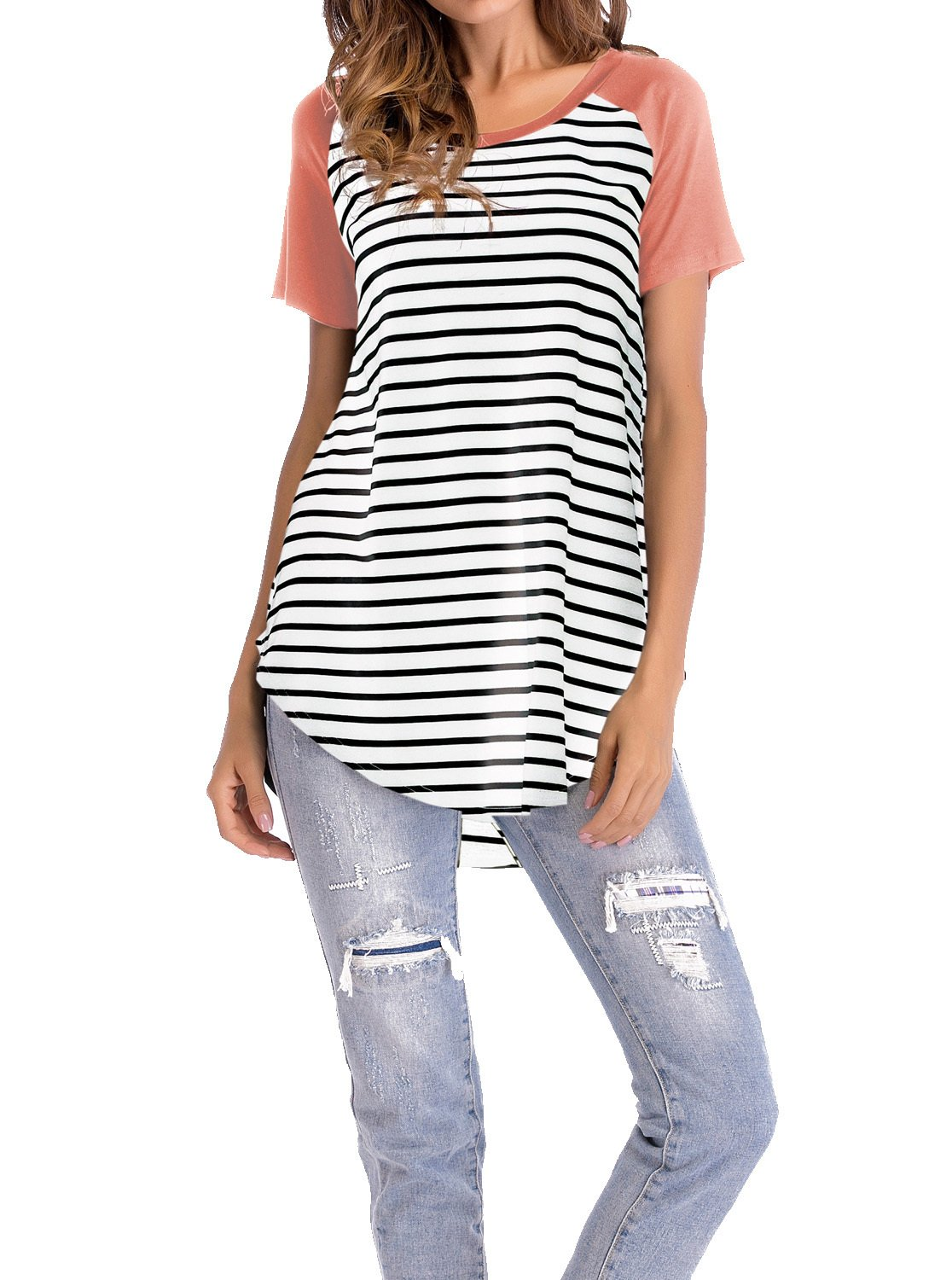 Adreamly Women's White and Black Striped Short Sleeve Baseball T Shirt Sport Tunic Tops Coral Pink 3X-Large