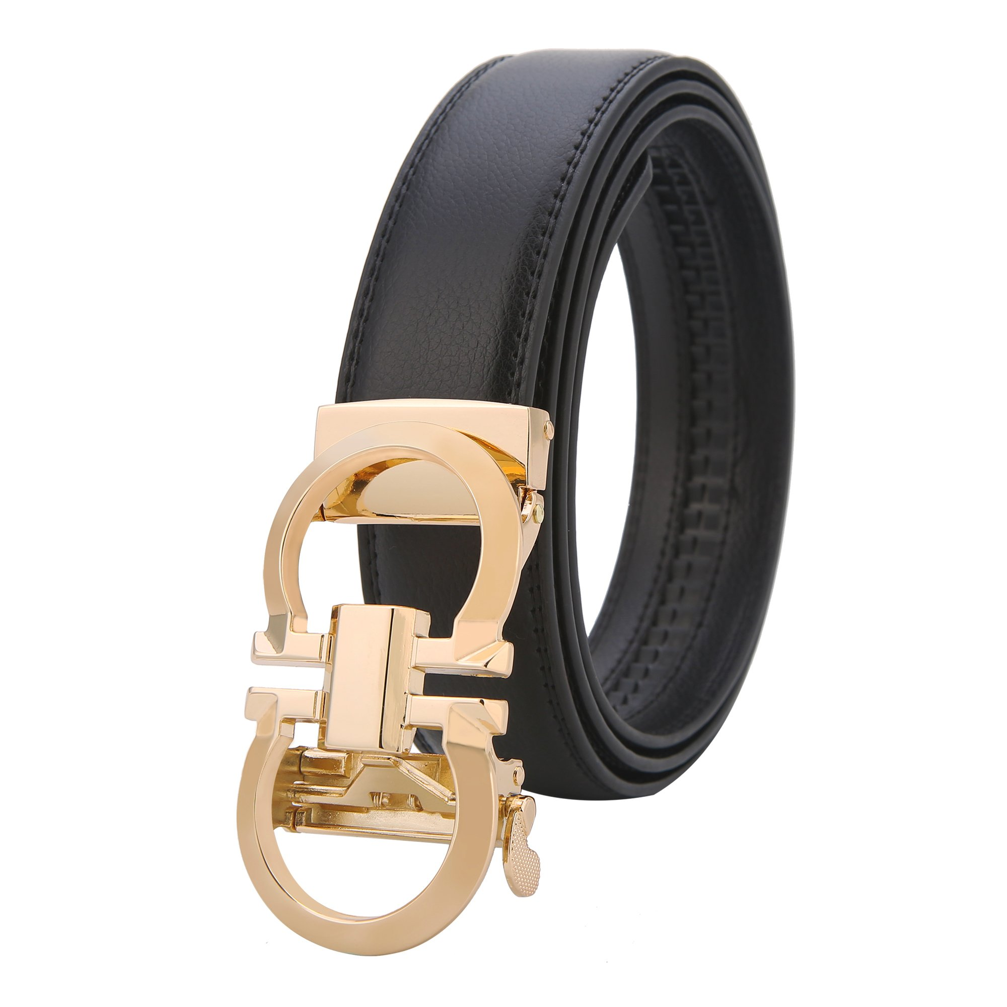 GO.LOVE Mens Genuine Leather Rachet Dress Belt Comfort Click on Gold Or Silver Buckle Wildth 1.38'' (GOLD, 27''-48'')