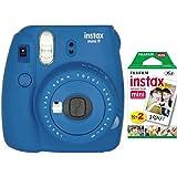 Fujifilm Instax Mini 9 Instant Camera with Mini Film Twin Pack (Ocean Blue)