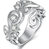 Newshe Jewellery White CZ Solid 925 Sterling Silver Flower Wedding Band Eternity Engagement Ring
