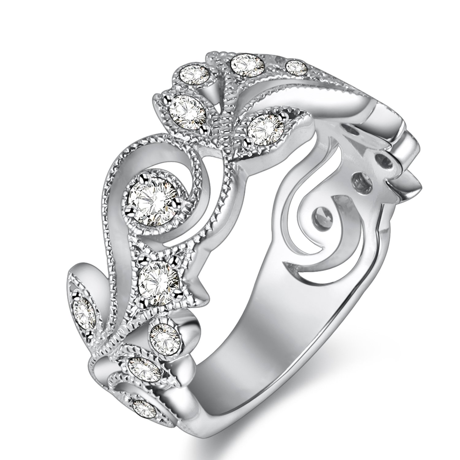 Newshe Jewellery Flower Wedding Band Eternity Ring Engagement 925 Sterling Silver White AAA Cz 10