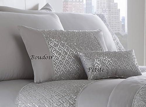 Portfolio Shimmer White Silver Sequin Duvet Set Quilt