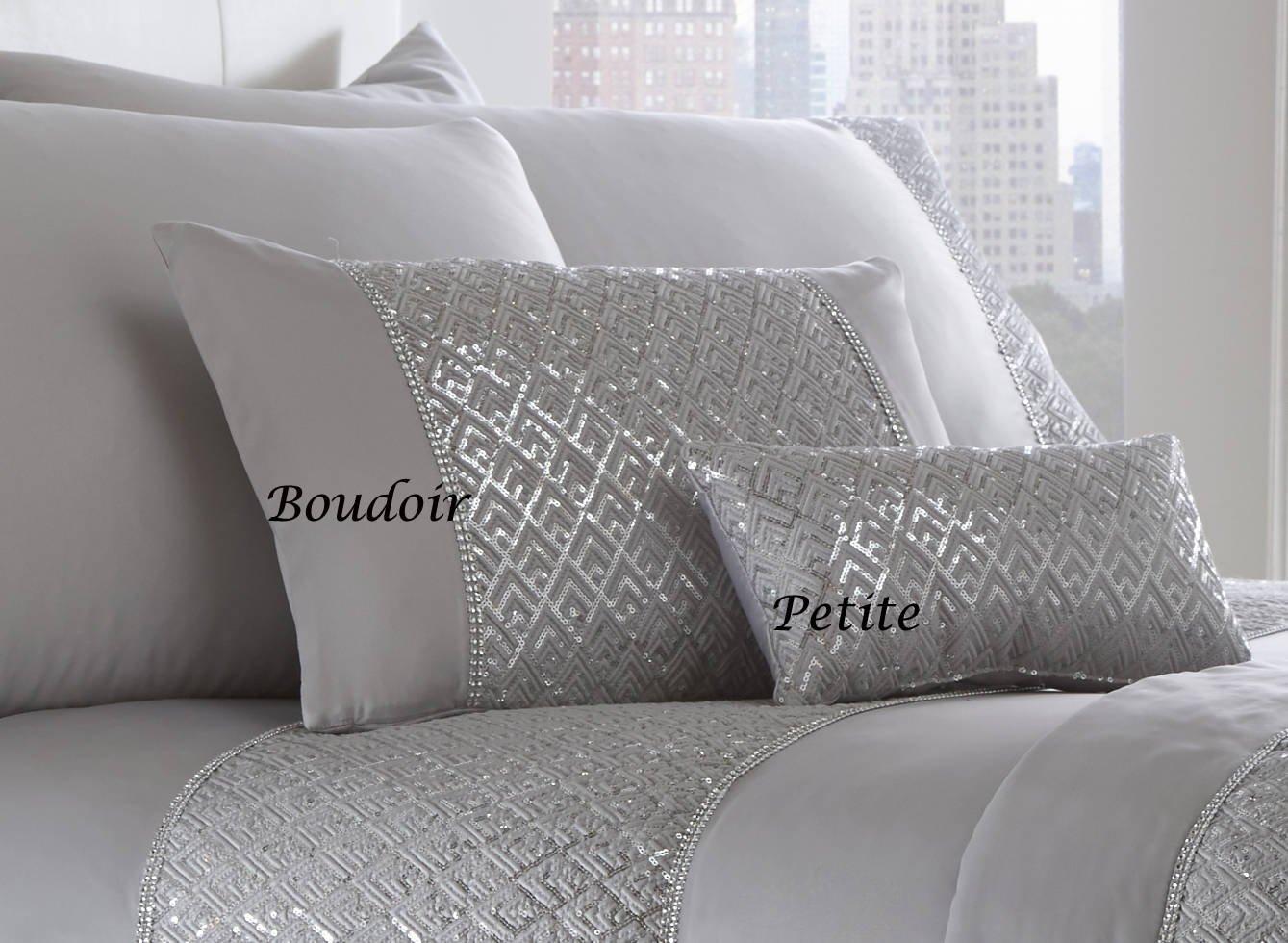 Portfolio Shimmer Luxury Diamante Trim Filled Boudoir Cushion Sham 32cm x 50cm Silver